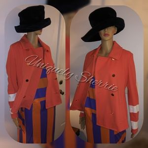 Crown & Ivy Orange Double Breasted Jacket